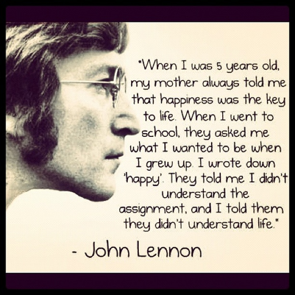 John Lennon Happiness Quote Poster John Lennon Quote on Life