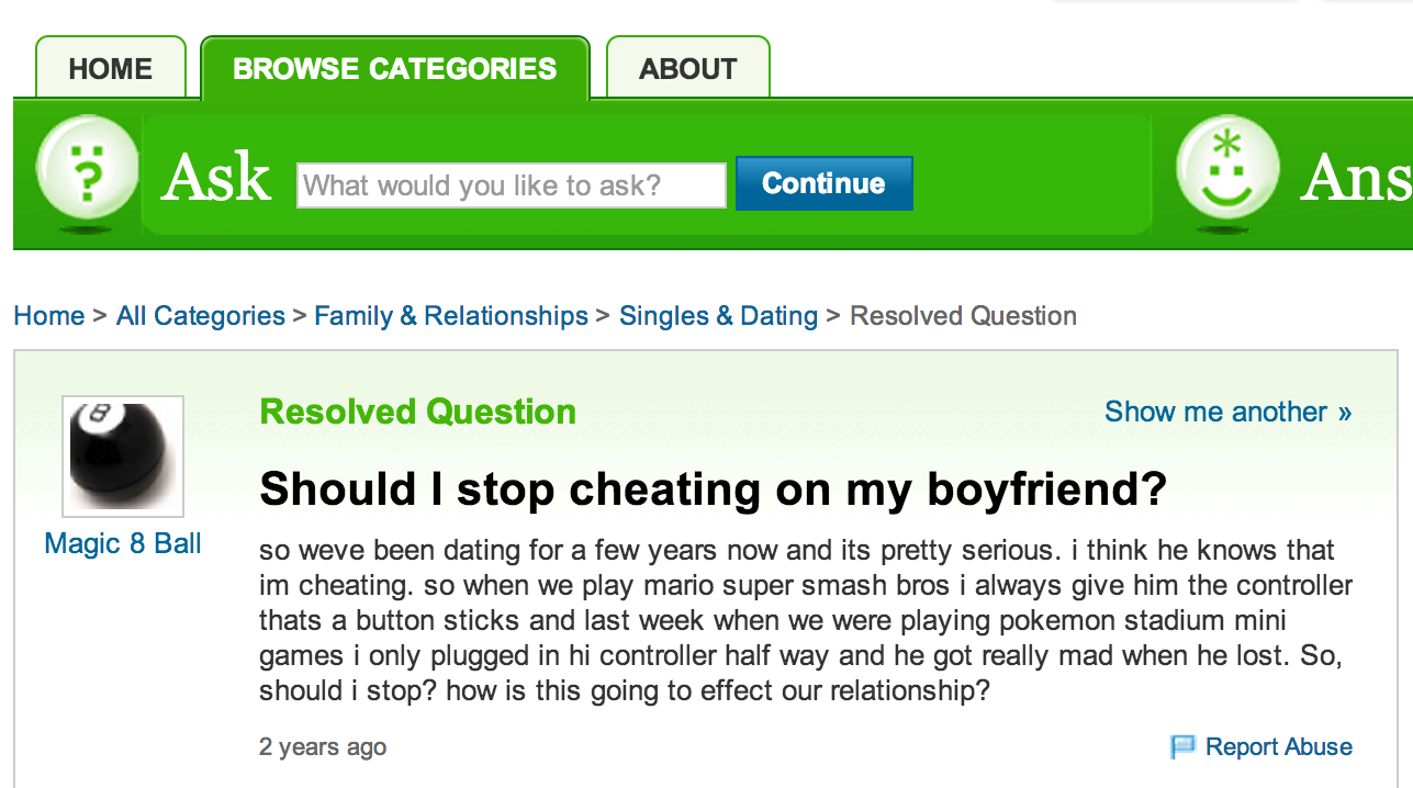 Yahoo Answers On A Girl Cheating On Her Boyfriend