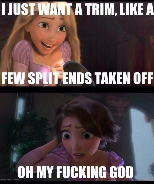 Rapunzel Decides To Trim Her Hair So It Won't Get So Tangled