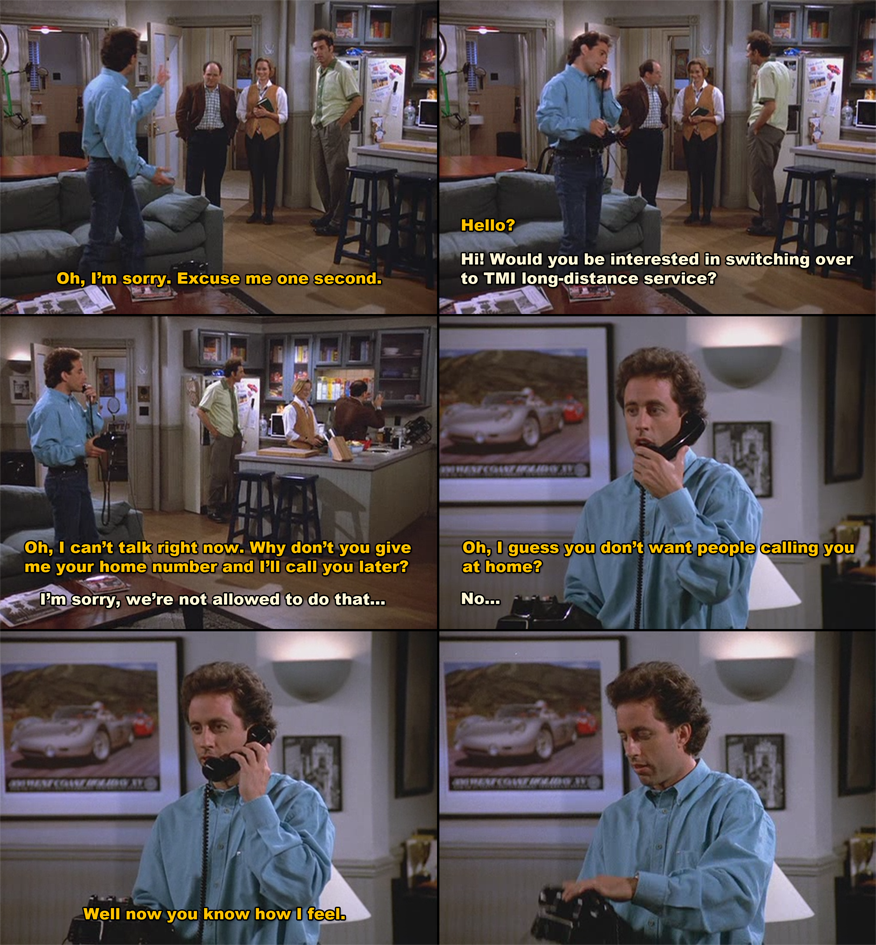 Seinfeld Quotes Jerry Seinfeld Make A Telemarketer Rethink His Life & Job