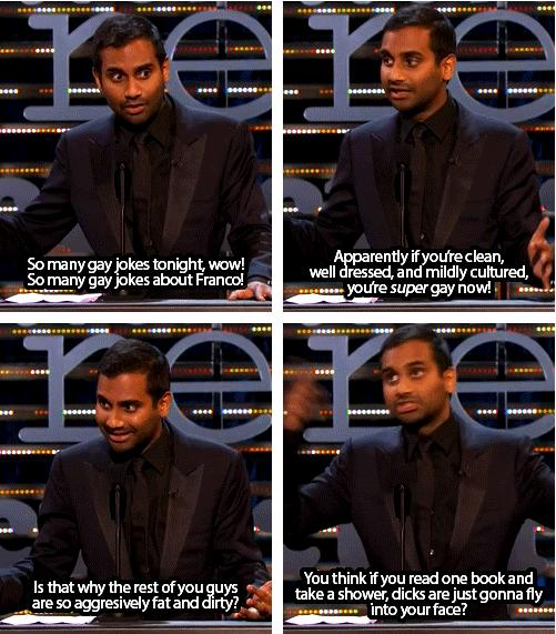 Aziz Ansari On Being Clean Wll Dressed Mildly Cultured At James Francos Roast aziz ansari on being clean, wll dressed, & mildly cultured at james