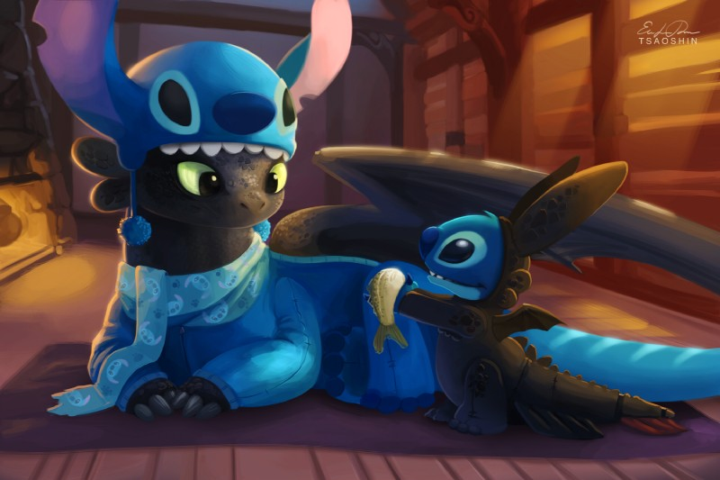 cute artwork of nightfury and stitch wearing each other as pajamas
