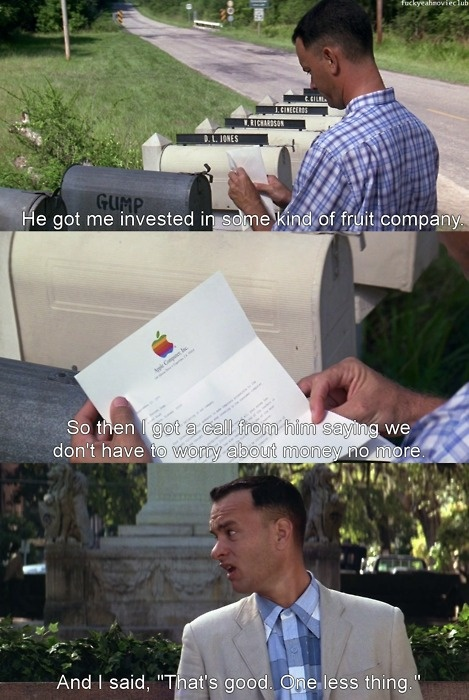 Tom Hanks As Forrest Gump Invests In Some Kind Of Fruit Company For Computers tom hanks as forrest gump invests in some kind of fruit company for