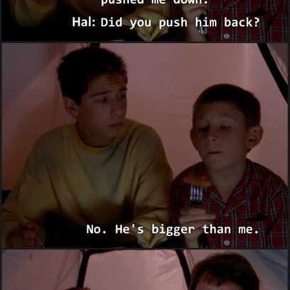 Hal Sends Reese To Fix a Bullying Problem For Dewey While Camping Outside On Malcolm In The Middle_408x408 hal sends reese to fix a bullying problem for dewey while camping