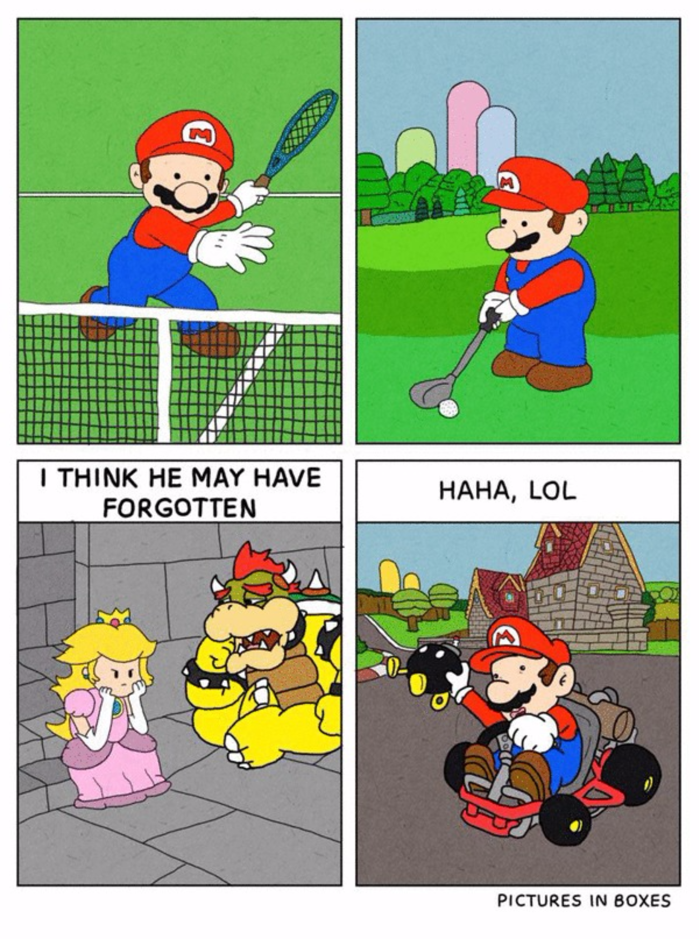 Pics photos funny princess peach pictures - Super Mario Is Sick Of Rescuing Princess Peach So He Goes On To Play Some Tennis Golf And Ride Some Go Karts Comic By Pictures In Boxes