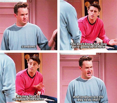 Joey and Chandler Hide While They Listen To Ross and ...